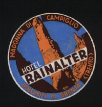 Collectable Hotel label  luggage labels pretty art Italy  #162